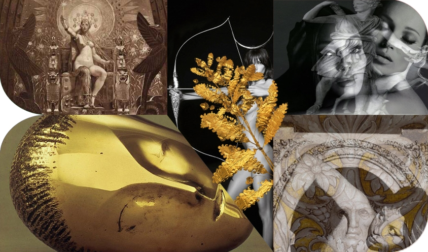 COLLAGE : HALLOWEEN STYLE: SUPERMODELS AS GREEK GODDESSES IN GOLD FASHIONS FOR SPRING 2014